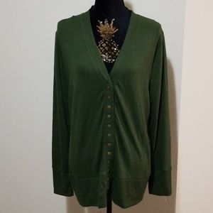 Zenana Outfitters Green Plus Size Sweater Cardigan